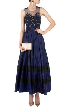 Navy blue color long anarkali suit – Panache Haute Couture http://panachehautecouture.co.in/collections/suits/products/navy-blue-color-long-anarkali-suit