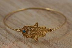 Hamsa hand evil eye gold bangle
