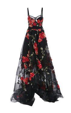 Dress, vestido, gala, flores, moda, preto, vermelho.