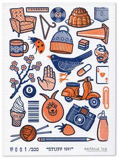 gocco print by Magic Jelly bird, ladybug, blue, orange