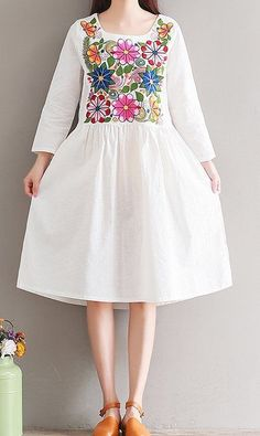 Women loose fitting plus over size flower embroidery dress ethnic tribal tunic #Unbranded #dress #Casual