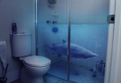 SHARK shower screen for kids bathroom Shark Bathroom, Shark Room, Ocean Room, Shower Screen, Shark Week, My Dream Home, Dream Homes, Decoration, Home Goods