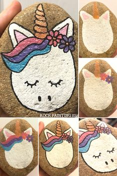to paint an easy unicorn rock Unicorn rocks. How to draw a unicorn on a rock. Step by step instructions for this fun rock painting project! How to draw a unicorn on a rock. Step by step instructions for this fun rock painting project! Rock Painting Patterns, Rock Painting Ideas Easy, Rock Painting Designs, Rock Painting For Kids, Rock Art Painting, Pebble Painting, Pebble Art, Stone Painting, Block Painting