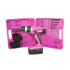 The Original Pink Box PB18VNIC Pink 18-Volt NIC Cordless Drill Set with Drill Bits