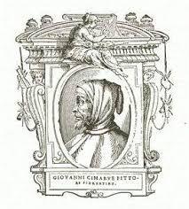 """Ritratto di Cimabue dalle """"Vite di Vasari """"- Il Vasari definisce Cimabue  come colui che nacque """"per dar i primi lumi all'arte della pittura"""". Fu infatti la pittura di Cimabue a dare inizio a una nuova scuola pittorica fatta anche di sentimenti, che si distaccava dall'arte bizantina."""
