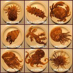 Under the Sea pancake art Sea Pancake, Pancake Art, Pancake Maker, Breakfast And Brunch, Morning Breakfast, Sunday Morning, Breakfast Ideas, Cute Food, Good Food