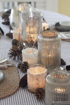 Winter Table Place Settings | Sweater Candle Holders via wenderly.com