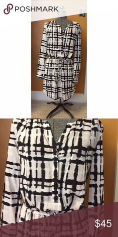NWT Banana Republic Abstract Shirt Dress Sz 6P NWT. Banana Republic shirt dress with drawstring waist,  button chest details and pockets. Light pink, white and black design. Sz 6P Banana Republic Dresses Long Sleeve