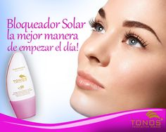 No olvides empezar la semana con una Sonrisa y tu día con el Bloqueador solar Tonos, tu piel  sonreirá también #toonos #maquillaje #serfeliz