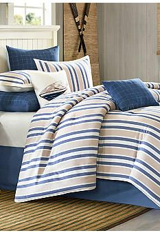 Blue River Nautical Bedding Set, 4 Piece - Cotton with Printed Blue Striped Comforter Set, Queen Size Nautical Bedding Sets, Ocean Bedding, King Comforter, Ocean Bedroom, Master Bedroom, Country Bedding, Rustic Bedding, Blue Comforter Sets, Yurts