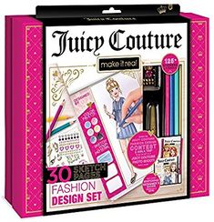 Make It Real - Juicy Couture Fashion Design Set. Inspirational Fashion Design Coloring Book for Girls. Includes Sketchbook, Colored Pencils, Stencils, Rhinestone Stickers, and Fashion Design Guide Craft Kits, Craft Supplies, Drawing Books For Kids, Fashion Design Books, Alex Toys, Juicy Couture Charms, Book Girl, Couture Fashion, Gifts For Girls