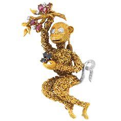 Gold, Platinum, Diamond, Ruby and Sapphire Monkey Brooch