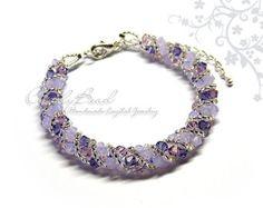 Swarovski Bracelet Blue Turquoise Crystal Cuff by candybead