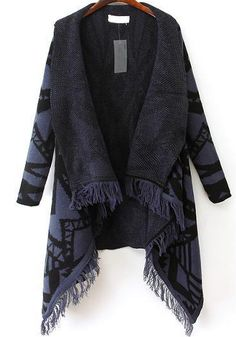 Shop Blue Long Sleeve Geometric Pattern Tassel Cardigan online. Sheinside offers Blue Long Sleeve Geometric Pattern Tassel Cardigan & more to fit your fashionable needs. Free Shipping Worldwide!