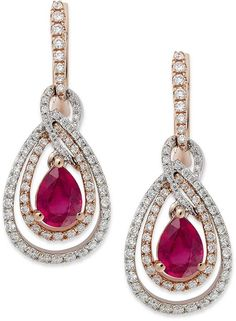 Rosa by Effy Ruby (1-3/4 ct. t.w.) and Diamond (3/4 ct. t.w.) Drop Earrings in Two-Tone 14k Gold on shopstyle.com