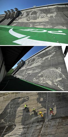 PGE Polish Energy Group commissioned a group of talented people to create an 'eco-mural' on the wall of the Solina Dam in Poland.