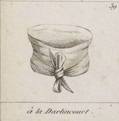 """Cravate à la d'Arlincourt (Code de la Cravate, 1828)  Die Cravate à la d'Arlincourt ist nach dem Schriftsteller Charles Victor Prévôt, Vicomte d'Arlincourt (1789-1856) benannt, dem Autor des Romans """"Le Solitaire"""" (1821). Sie darf keiner Regel folgen und stellt somit das Gegenteil aller anderen dar. Man führt sie also zunächst nach hinten, macht den Knoten möglichst weit unten und vertikal. Außerdem wählt man die seltsamsten Farben."""