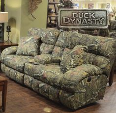 Sectional Sofa Lay Flat Reclining Console Loveseat Dimensions x x Shown in Mossy Oak Infinity Pattern my rooms furniture gallery
