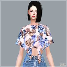 Sims 4 CC's - The Best: Tied Short Sleeves Crop Top by Marigold