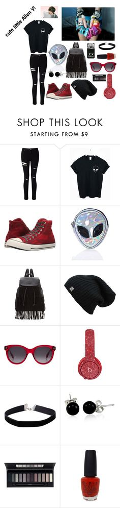 """""""Alien"""" by rixzs ❤ liked on Polyvore featuring Miss Selfridge, Converse, Disturbia, Glamorous, Alexander McQueen, Beats by Dr. Dre, Bling Jewelry, ArtDeco and OPI"""