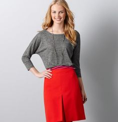 cute red pleated skirt