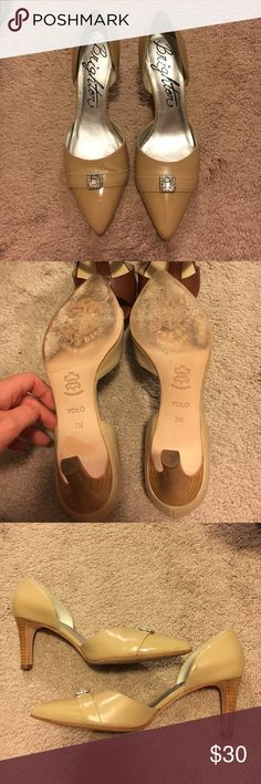 Brighton Cream YOLO heels size 7 Worn only once, nude color Brighton heels, about 1.5-2 inches high. Good height for being comfy in your heels all day, and they match everything! Brighton YOLO heels size 7. Brighton Shoes Heels