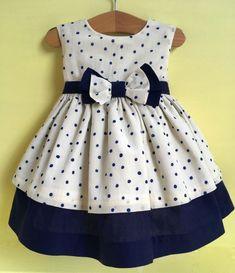 Designer Baby Girl Dress 12 Months - Handmade in the UK. Cream and Navy by Bonit... - #Baby #bonit #cream #designer #dress #girl #Handmade #months #Navy #uk