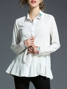 Shop Blouses - White Work Buttoned Shirt Collar Blouse online. Discover unique designers fashion at StyleWe.com.