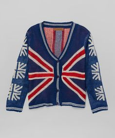 Another great find on #zulily! Navy & Red Union Jack Cardigan #zulilyfinds