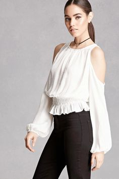 A crinkled satin top featuring an open-shoulder design, a shirred round neckline, long puff sleeves, vented back, and a smocked waist. This is an independent brand and not a Forever 21 branded item.