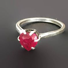 Ruby Red Heart Ring Sterling Silver Prong Set Vintage Ring for