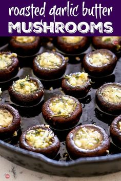 These Easy Roasted Garlic Butter Mushrooms are perfect for your cheese board or . , These Easy Roasted Garlic Butter Mushrooms are perfect for your cheese board or as a side dish! Tapas Recipes, Easy Appetizer Recipes, Yummy Appetizers, Side Recipes, Mushroom Appetizers, Mushroom Recipes, Tapas Dishes, Food Dishes, Side Dishes