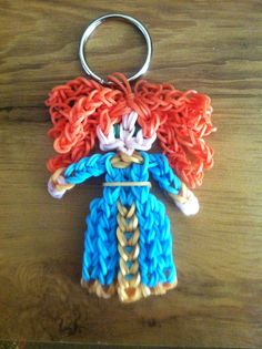 Rainbow Loom Princess Merida Keychain by MollyAnnaCharms on Etsy, $5.00