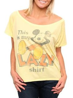 This Is My Lazy Shirt Off the Shoulder tee  #mickeymouse  www.junkfoodclothing.com  $32
