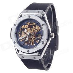 Feature: Movement: High Quality Mechanical Movement; Case: High Quality Stainless Steel Watch Case + Tempered Glass Lens; Buckles: Practical Pin Buckle; Watchband: Comfortable Rubber; No Batteries Needed, Environmental Protection and Energy Saving. Great Gift For Your Father, Husband, and Your Friends. http://j.mp/1ljP9z0
