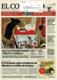 """Noticia sobre el fallecimiento de Santiago Carrillo aparecida en primera plana del periódico """"El Comercio"""" del 20 de septiembre de 2012"""