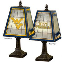 """West Virginia Mountaineers Glass Table 14"""" Lamp $65.99 http://www.fansedge.com/West-Virginia-Mountaineers-Glass-Table-14-Lamp-_1014872549_PD.html?social=pinterest_pfid35-88783"""