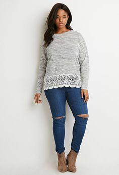 Heathered Crochet-Panel Sweater - Sweatshirts & Knits - 2000172391 - Forever 21 EU English