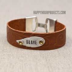 Embossed and Stamped Leather Bracelet at www.happyhourprojects.com. Free tutorial. Requires Sizzix Big Kick, but she includes a coupon in case you need to but one!