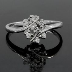 1/2ct Round Cut VVS Diamond Platinum Plated Cluster Ring O896 #ClusterRing