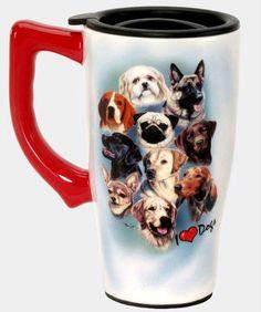 I LOVE DOGS!  FULL COLOR  14 oz. CERAMIC TRAVEL MUG - dogs, dogs, dogs!