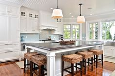 Large kitchen design with all white cabinets and pendant lighting over the island with stools-Home and Garden design ideas