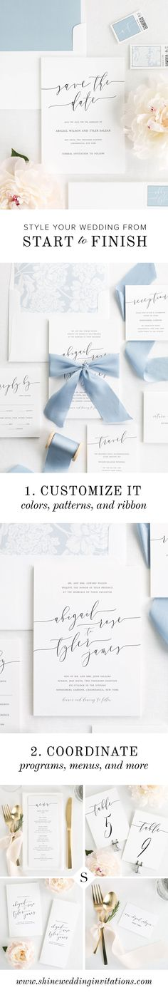 Set yourself apart with these gorgeous and unique wedding invitations featuring dramatic calligraphy.