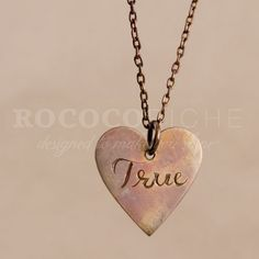True Love Copper Necklace, One of a Kind – Hand Engraved by designer and artist A.L. Henson