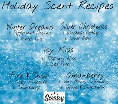 Scentsy holiday 2015 scent fragrance recipes order online https://rykat.scentsy.us/