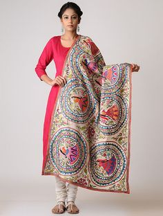 Madhubani Painting, Silk Dupatta, Burlap Crafts, Indian Designer Outfits, Churidar, Woman Clothing, Shawls, Embroidery Stitches, Stitching