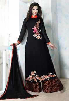 Buy Bhavya Georgette With Embroidery Work And Santoon Inner Black Color Salwar Suit for Women - Women's Salwars & Churidars Online in India Suits For Women, Women Wear, Clothes For Women, Palazzo Suit, Palazzo Style, Churidar, Salwar Kameez, Designer Punjabi Suits, Bollywood Dress