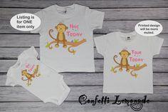 Monkey Birthday Toddler Tee; Girls Pink Birthday Baby Bodysuit;  Monkey On Branch Birthday Youth Shirt; Baby Bib Girl Birthday; G029 by ConfettiLemonade on Etsy