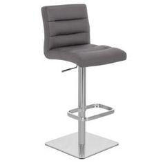 Lush Square Base Adjustable Height Swivel Armless Bar Stool | Zuri Furniture