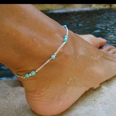 NEW ANKLE BRACELET Super cute turquoise bead ankle bracelet. Jewelry Bracelets